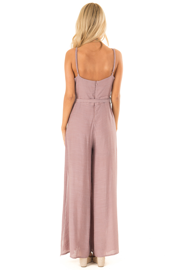 Mauve Jumpsuit with Wide Leg Side Slit Detail back full body