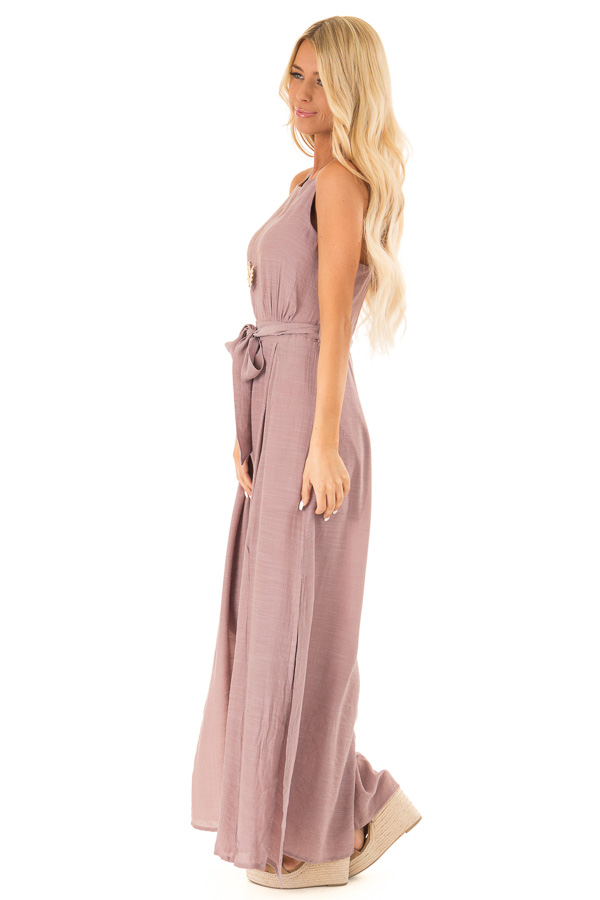 Mauve Jumpsuit with Wide Leg Side Slit Detail side full body