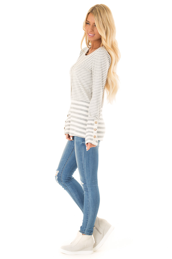 Heather Grey and Ivory Striped Top with Button Detail side full body
