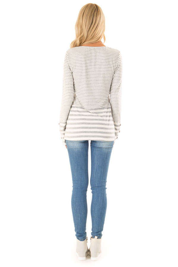 Heather Grey and Ivory Striped Top with Button Detail back full body
