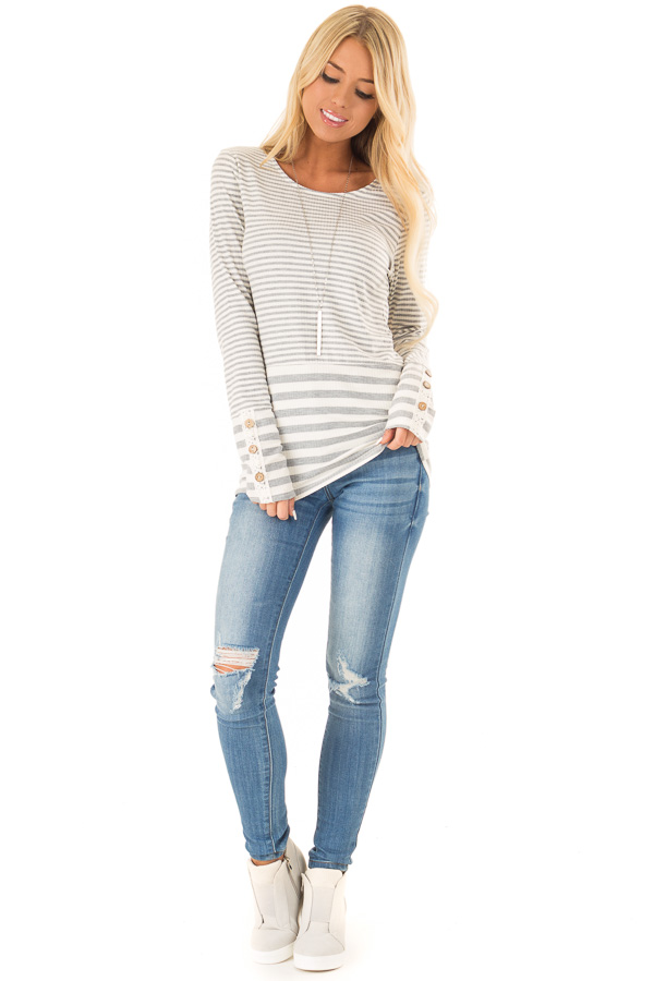 Heather Grey and Ivory Striped Top with Button Detail front full body
