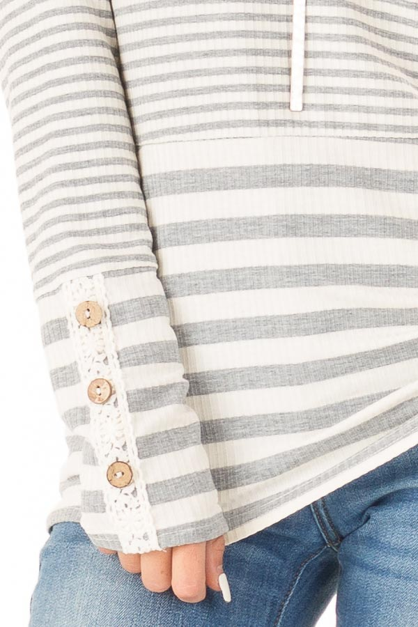 Heather Grey and Ivory Striped Top with Button Detail detail