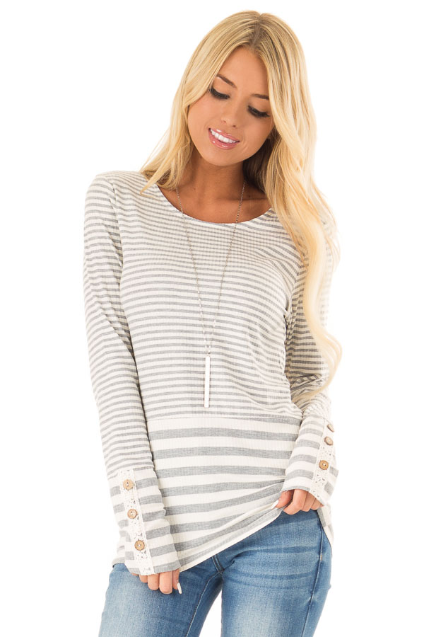Heather Grey and Ivory Striped Top with Button Detail front close up