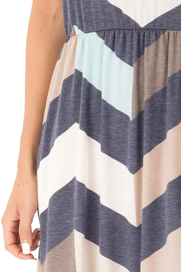 Navy and Taupe Chevron Print Maxi Dress with Side Pockets detail