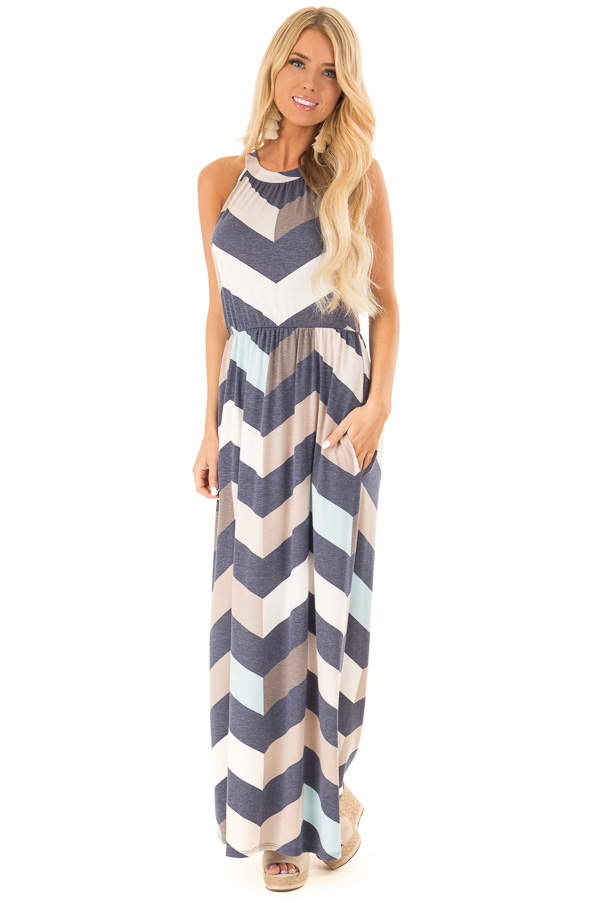 Navy and Taupe Chevron Print Maxi Dress with Side Pockets front full body