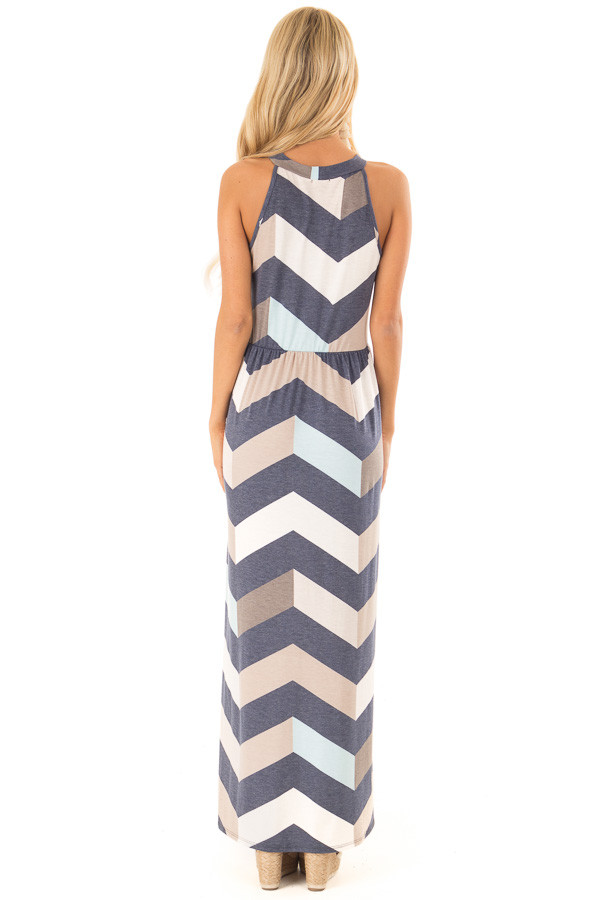 Navy and Taupe Chevron Print Maxi Dress with Side Pockets back full body