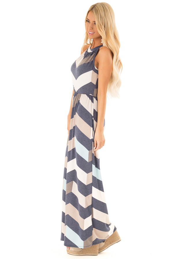 Navy and Taupe Chevron Print Maxi Dress with Side Pockets side full body
