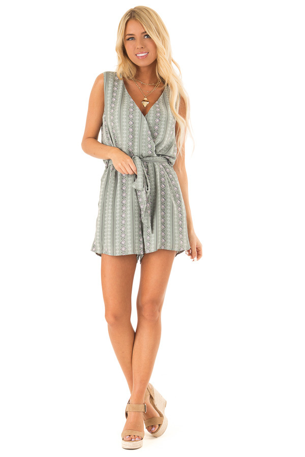 Sage Aztec Print Surplice Romper with Waist and Back Ties front full body