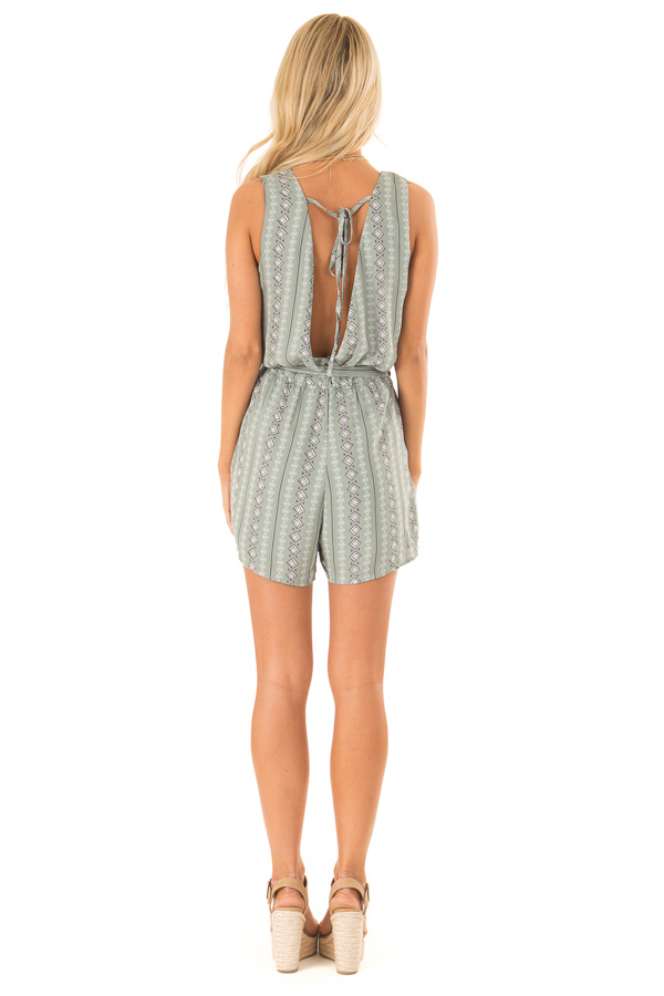 Sage Aztec Print Surplice Romper with Waist and Back Ties back full body