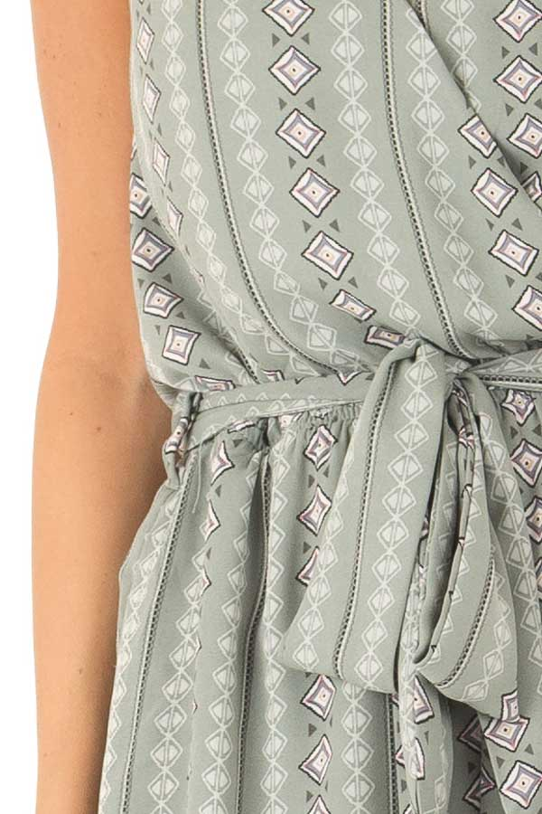 Sage Aztec Print Surplice Romper with Waist and Back Ties detail