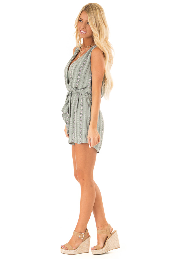 Sage Aztec Print Surplice Romper with Waist and Back Ties side full body