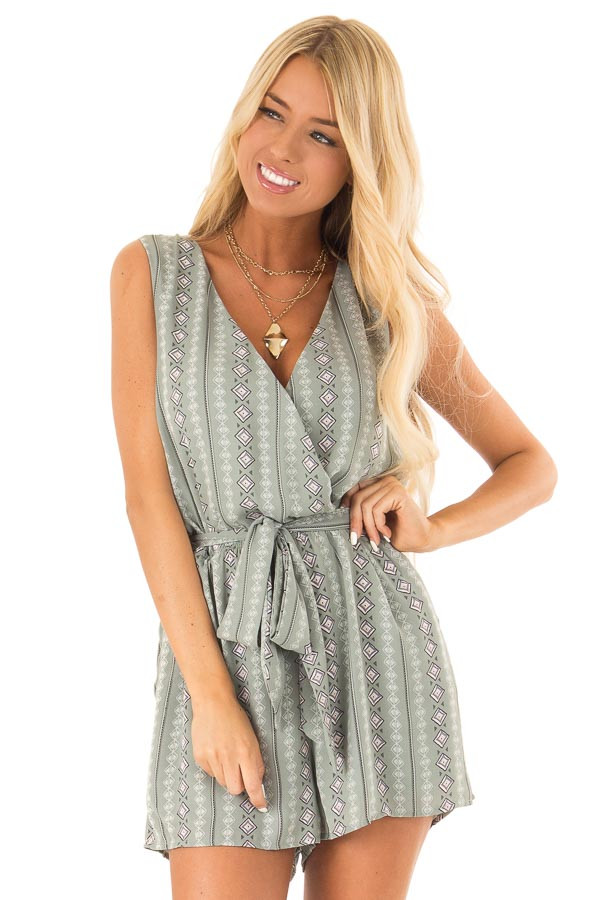 Sage Aztec Print Surplice Romper with Waist and Back Ties front close up