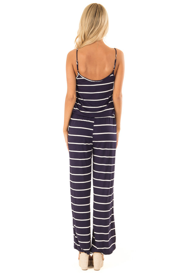 Midnight Striped Spaghetti Strap Jumpsuit with Waist Tie back full body