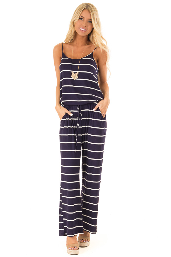 Midnight Striped Spaghetti Strap Jumpsuit with Waist Tie front full body