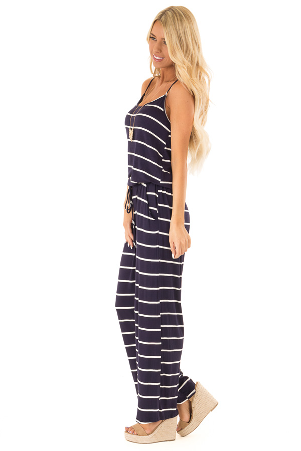 Midnight Striped Spaghetti Strap Jumpsuit with Waist Tie side full body