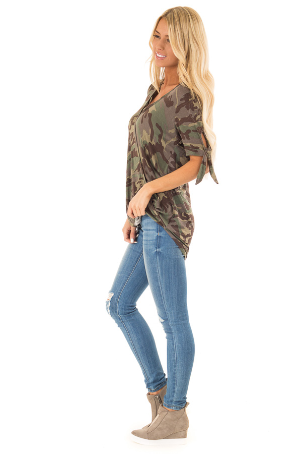 Army Green Camo Print Surplice Top with X Neckline side full body