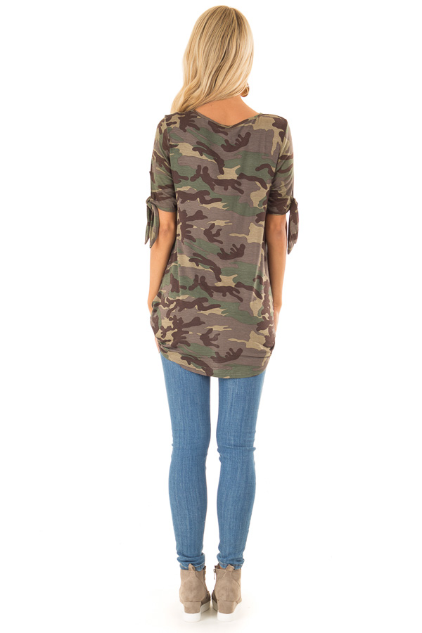 Army Green Camo Print Surplice Top with X Neckline back full body