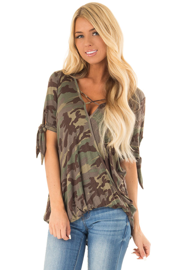 Army Green Camo Print Surplice Top with X Neckline front close up