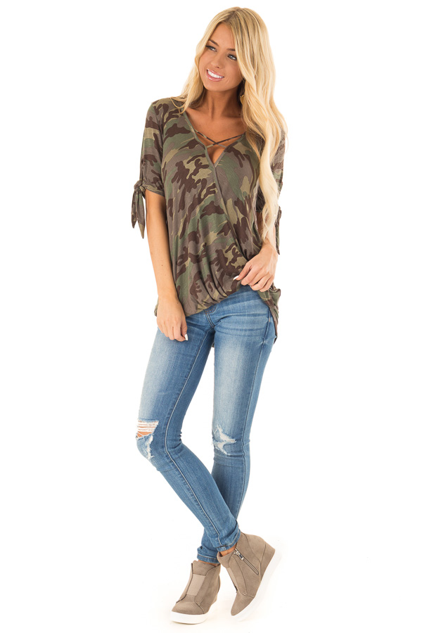 Army Green Camo Print Surplice Top with X Neckline front full body