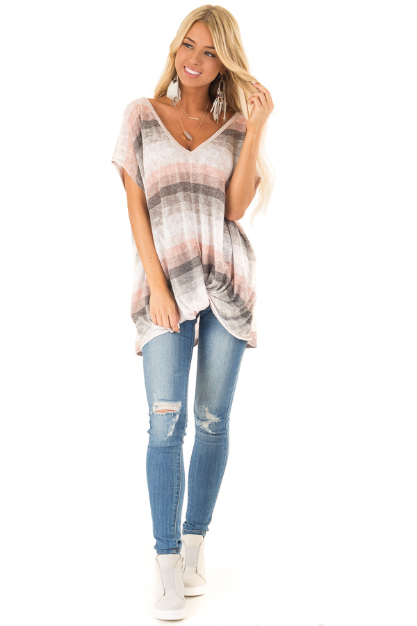 Charcoal and Peach Multicolor Striped Top with Front Twist front full body