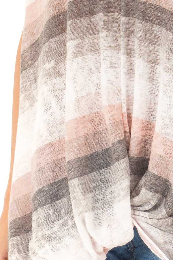 Charcoal and Peach Multicolor Striped Top with Front Twist detail