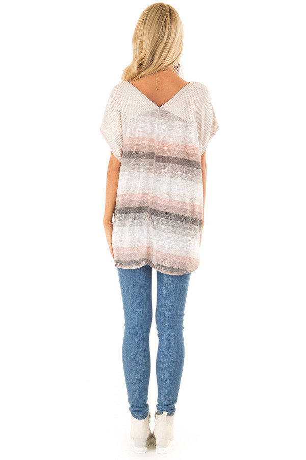 Charcoal and Peach Multicolor Striped Top with Front Twist back full body