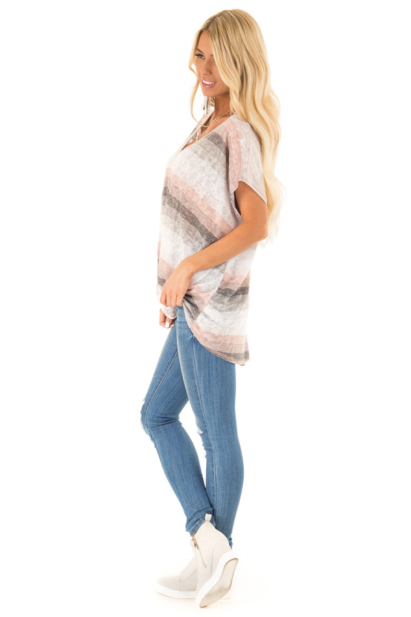Charcoal and Peach Multicolor Striped Top with Front Twist side full body