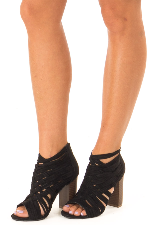 Black Faux Suede Strappy Sandal with Chunky Heel front side view