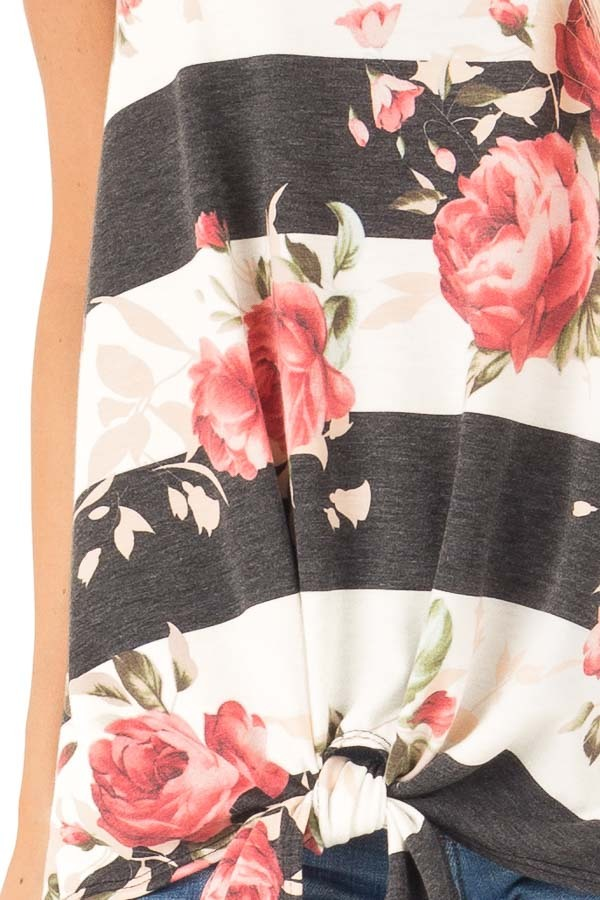 Charcoal Striped Floral Print Sleeveless Top with Front Tie detail