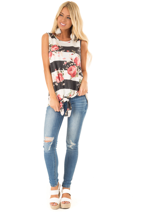 Charcoal Striped Floral Print Sleeveless Top with Front Tie front full body