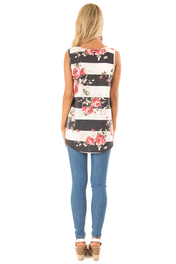 Charcoal Striped Floral Print Sleeveless Top with Front Tie back full body