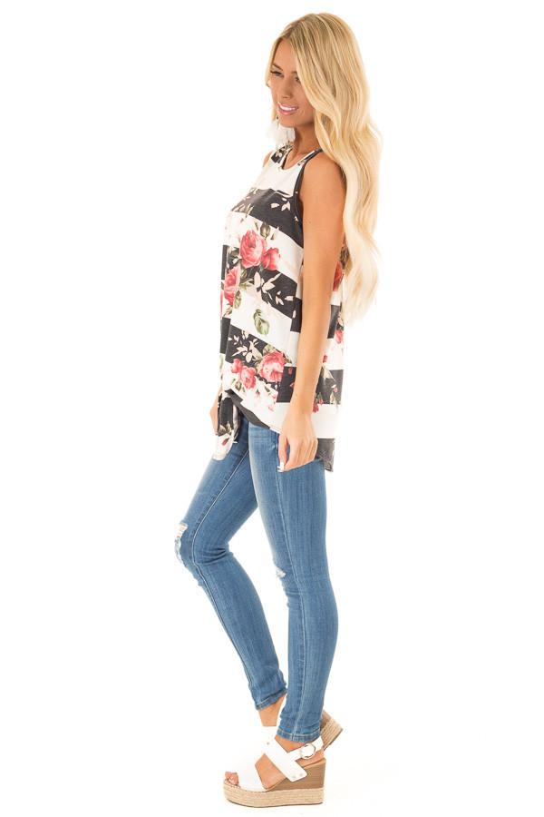 Charcoal Striped Floral Print Sleeveless Top with Front Tie side full body