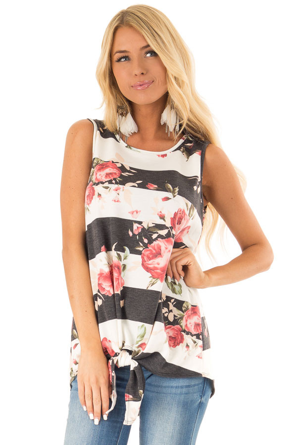 Charcoal Striped Floral Print Sleeveless Top with Front Tie front close up