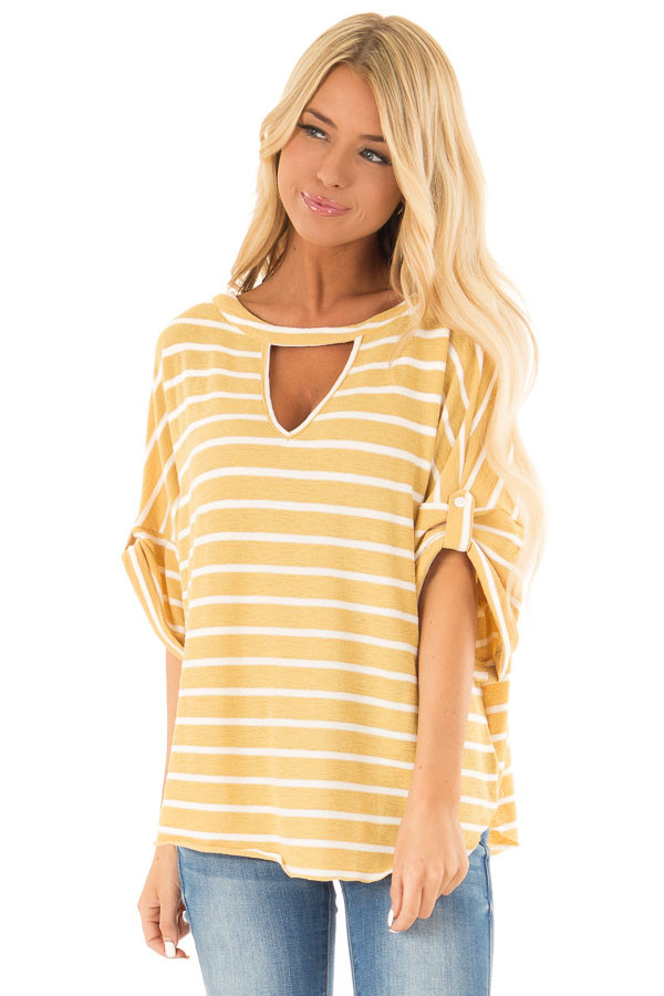 Mustard and Ivory Striped Short Sleeve Top with Front Cutout front close up