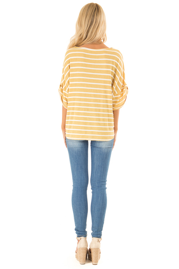 Mustard and Ivory Striped Short Sleeve Top with Front Cutout back full body