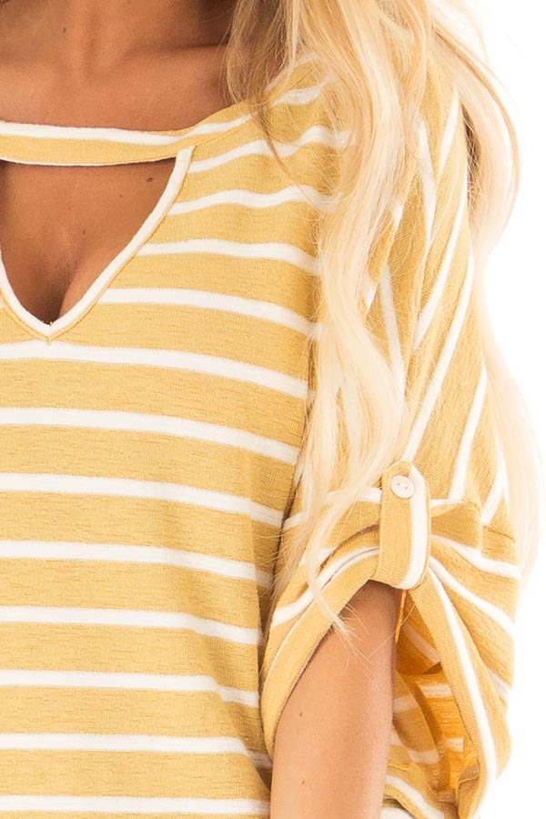 Mustard and Ivory Striped Short Sleeve Top with Front Cutout detail