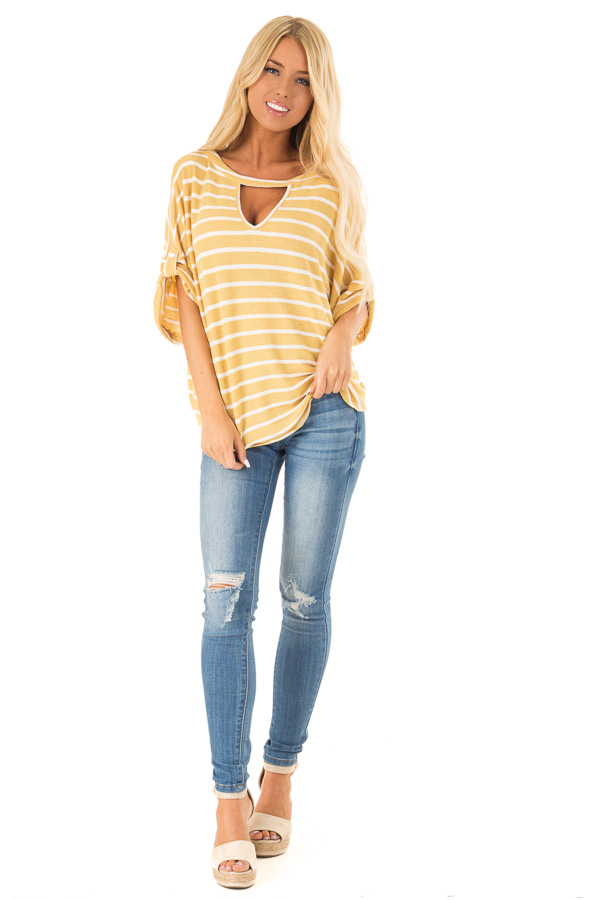 Mustard and Ivory Striped Short Sleeve Top with Front Cutout front full body