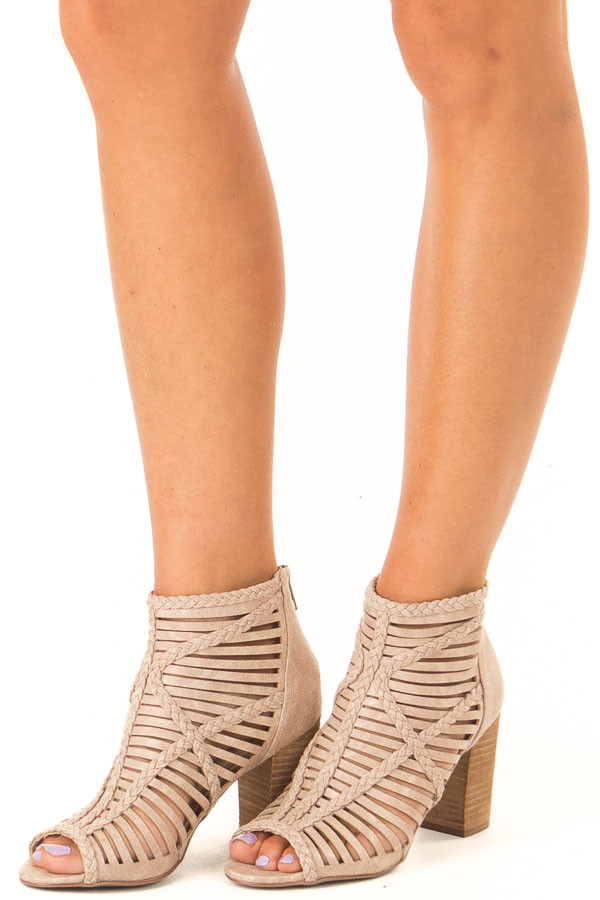 Beige Strappy Heeled Sandal with Open Toe front side view