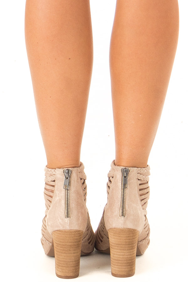 Beige Strappy Heeled Sandal with Open Toe back view