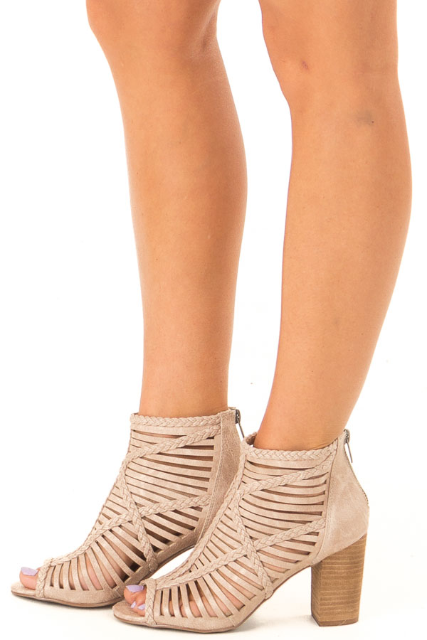 Beige Strappy Heeled Sandal with Open Toe side view