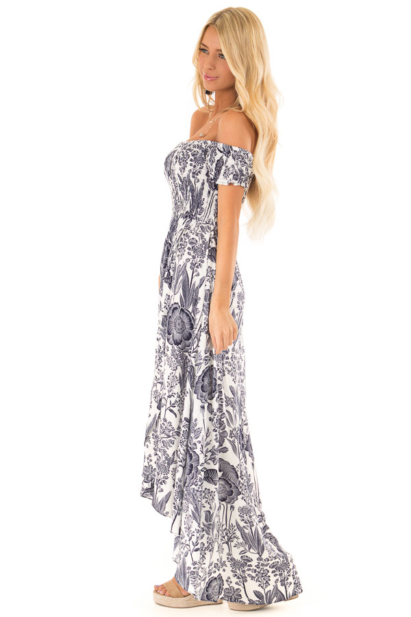 Coconut White and Navy Smocked Maxi Dress with Floral Print side full body
