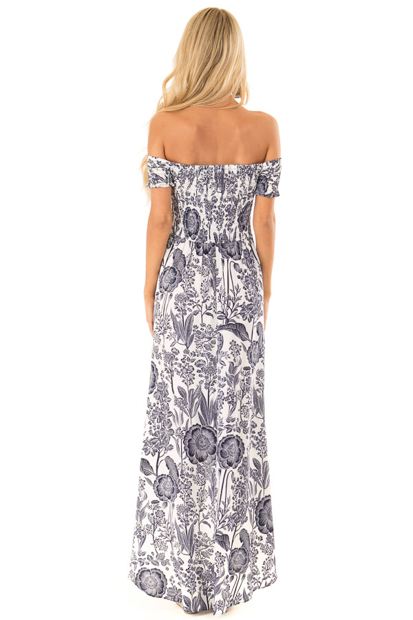 Coconut White and Navy Smocked Maxi Dress with Floral Print back full body