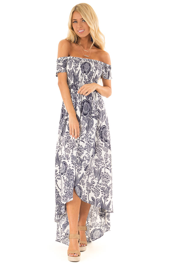 Coconut White and Navy Smocked Maxi Dress with Floral Print front full body
