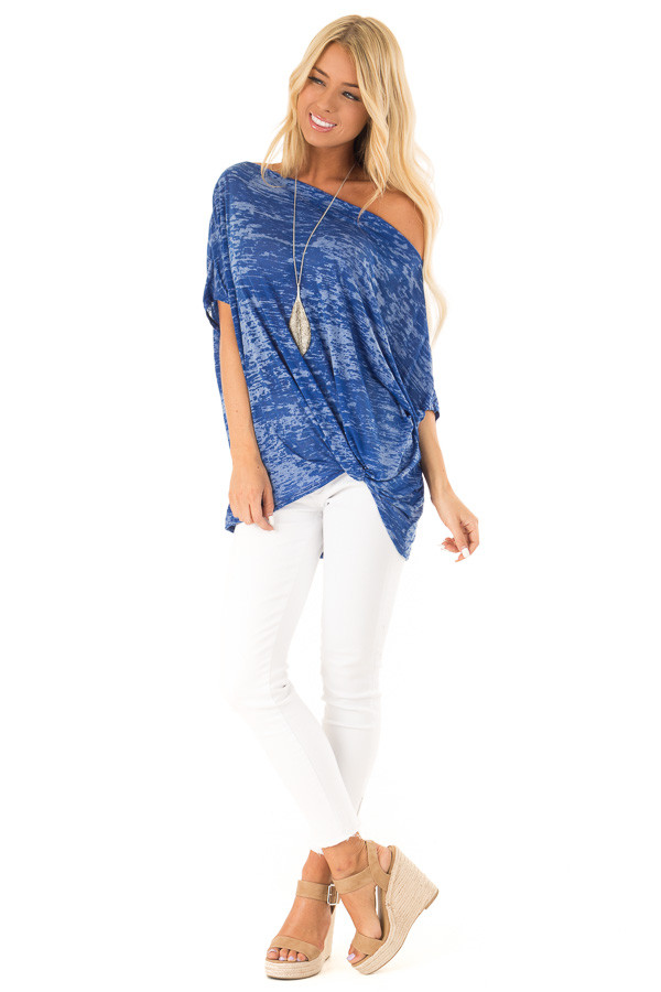 ef101f5d280 Royal Blue Off the Shoulder Burnout Top with Front Twist front full body ...