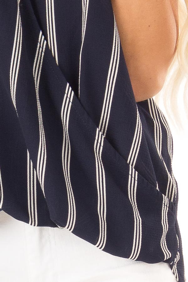 Deep Navy and White Striped Surplice Tank Top detail