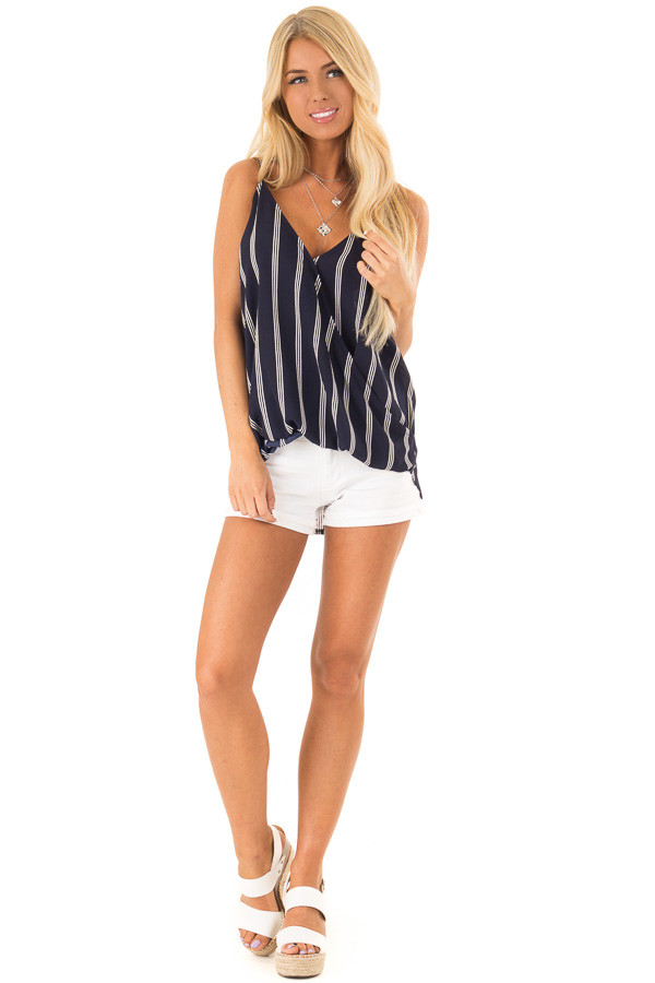 Deep Navy and White Striped Surplice Tank Top front full body