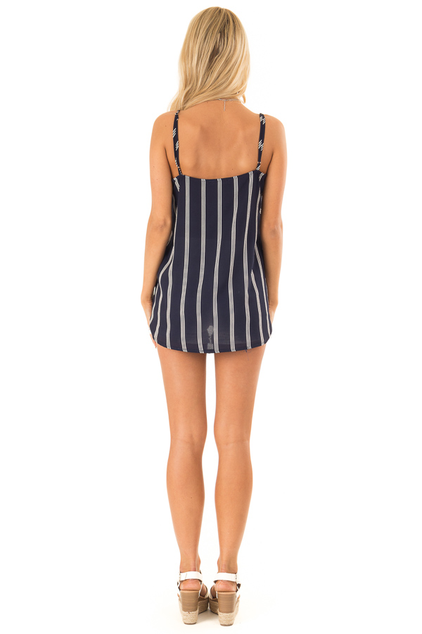 Deep Navy and White Striped Surplice Tank Top back full body