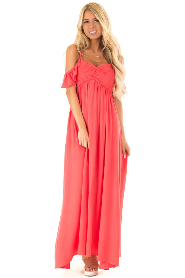 da7d39d25bb ... Coral Cold Shoulder Maxi Dress with Smocked Bust front full body ...