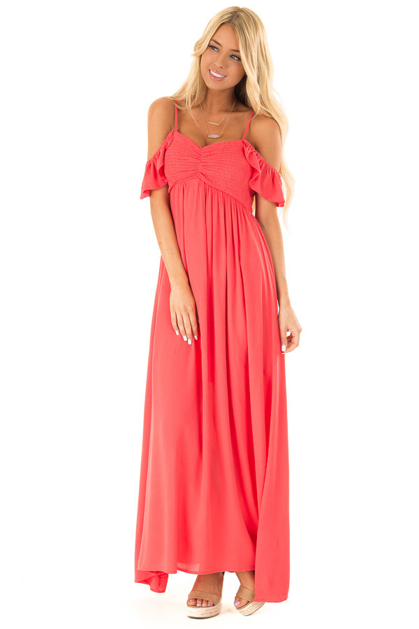 ec83eb4985f Coral Cold Shoulder Maxi Dress with Smocked Bust - Lime Lush Boutique