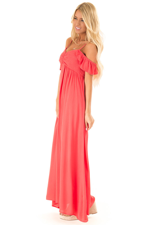 2f9998d57cc ... Coral Cold Shoulder Maxi Dress with Smocked Bust side full body ...